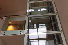 3 floor glass lift in the British Library, London