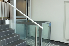 Glass Platform Lift in Car Showroom