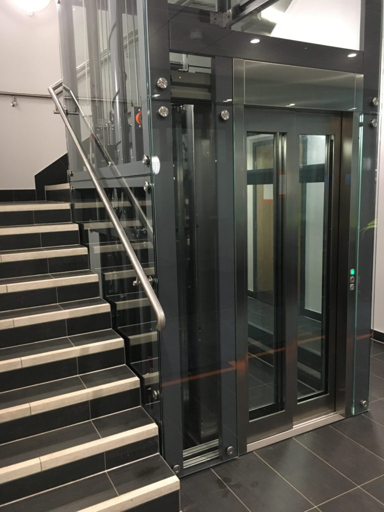 Glass Lift in Stairwell