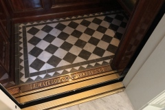 Marble floor of the lift at the Newt in Somerset