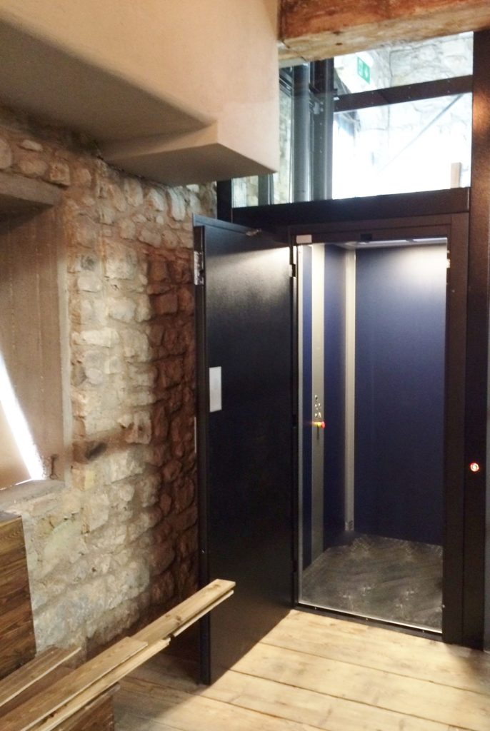 Disabled Platform Lift at the Dancing Man Brewery in the Wool House
