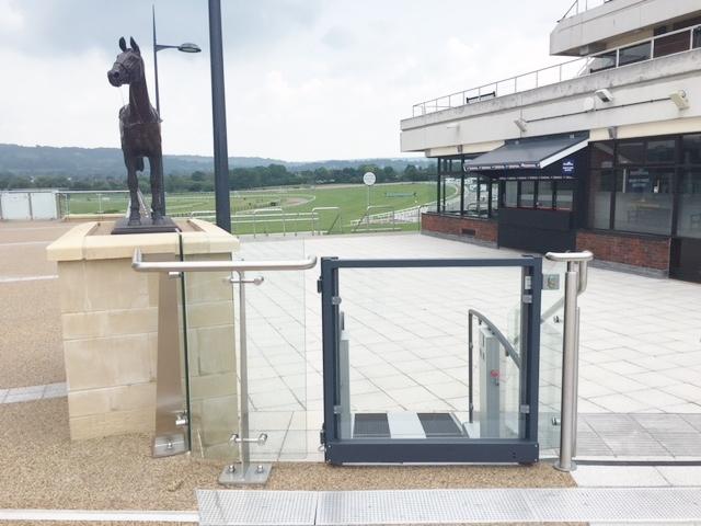 The platform lift at the Golden Miller Terrace overlooks Cheltenham Racecourse