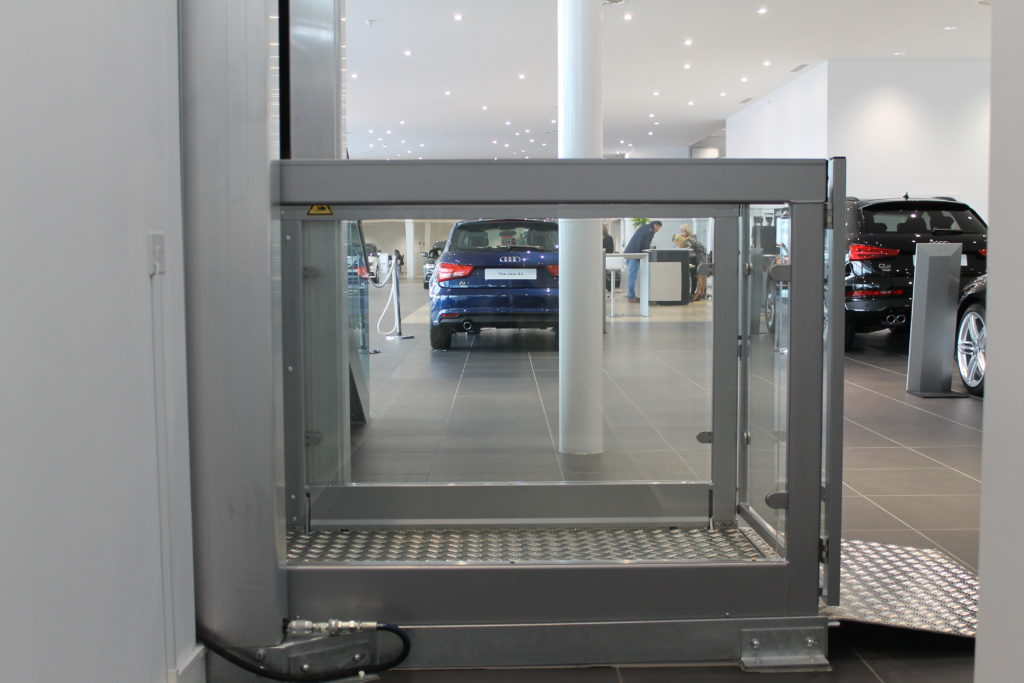 Disabled Platform Lift in Car Showroom