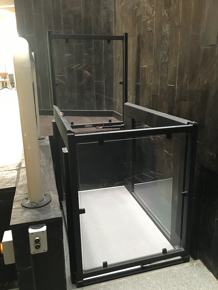 Open platform lift providing access to the main cafe at York Theatre Royal