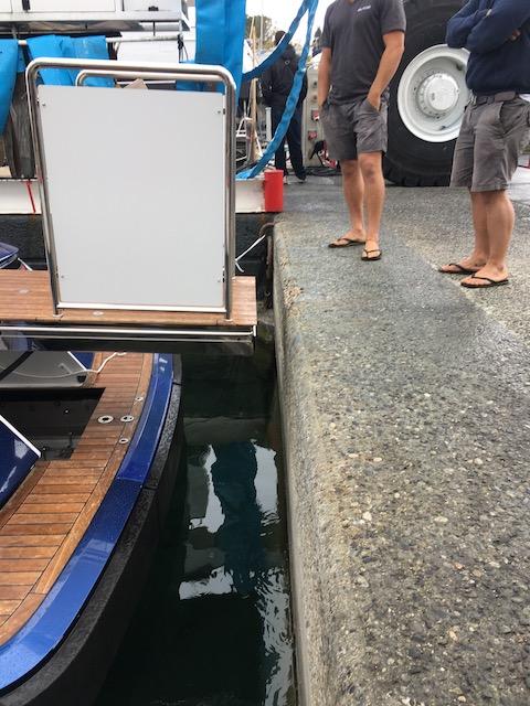 Wheelchair lift on a speedboat