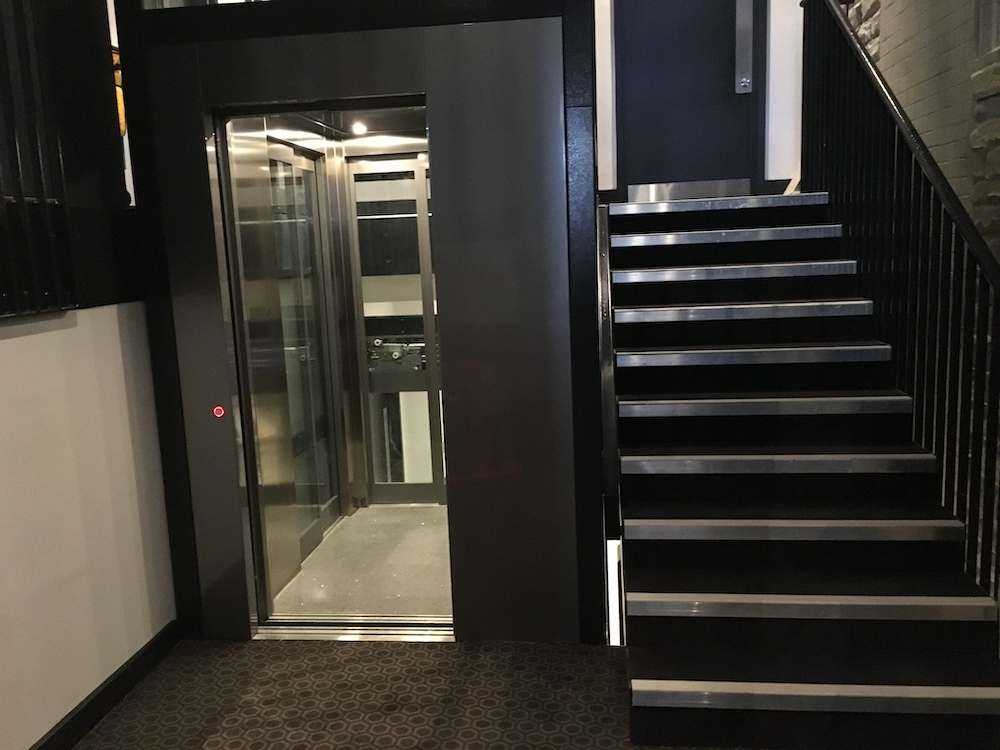 Glass and stainless steel lift in the York Theatre Royal