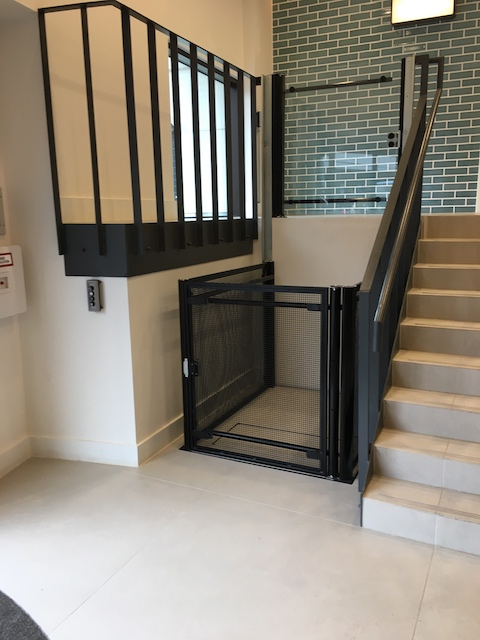 Specialist platform lift in the lobby area of Venture House