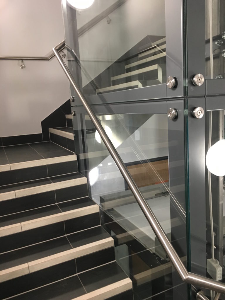 Glass Lift at Meriden Hall Finished with Pinned Glass