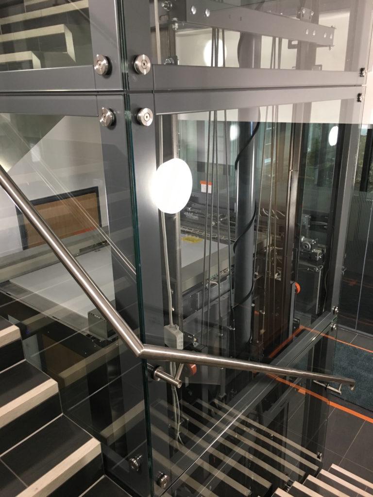 Glass Lift with Custom Made Handrail at Meriden Hall