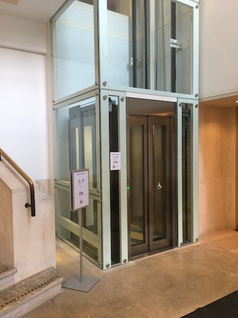 Glass Wheelchair Lift in the British Library