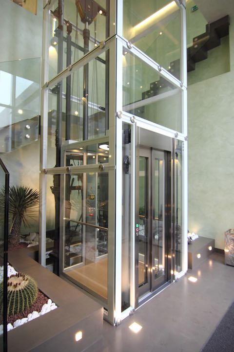 Glass Lift in Hotel Lobby