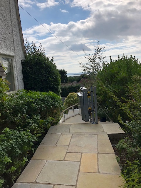 Inclined Wheelchair Platform Lift in a Garden