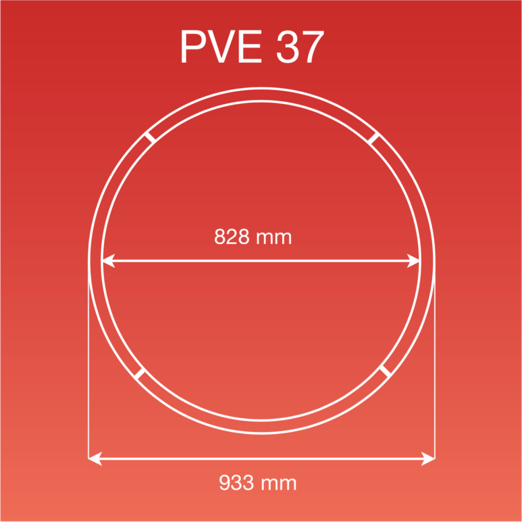 Internal and external measurements of the PVE 37