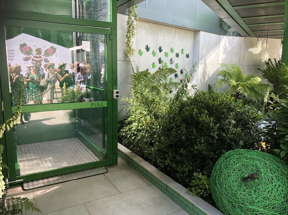 The lift in the Greenfingers Charity Garden at the Chelsea Flower Show 2019