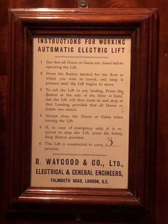 Instructions for operating the lift