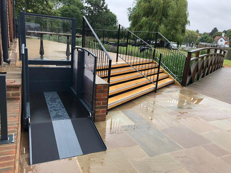 Wheelchair lift allowing access to the island to enjoy the river at The Swan at Streatley