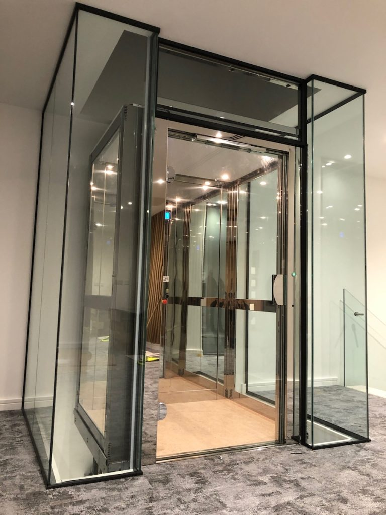 Glass lift on the first floor of Sovereign House in Basildon, Essex