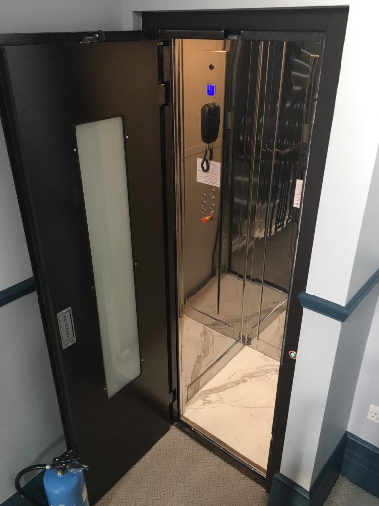 Small cabin lift on Mount Street in Mayfair