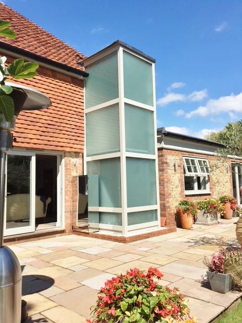 External glass lift in Bosham near Chichester