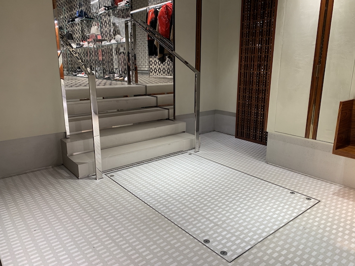 Hidden platform lift in a fashion house's New Bond Street boutique
