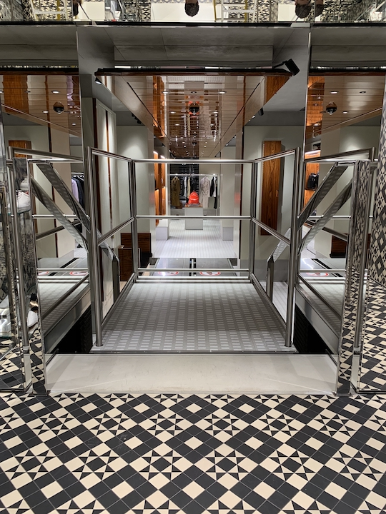 The lift at the New Bond Street boutique has handmade terrazzo tiles to match the surrounding flooring