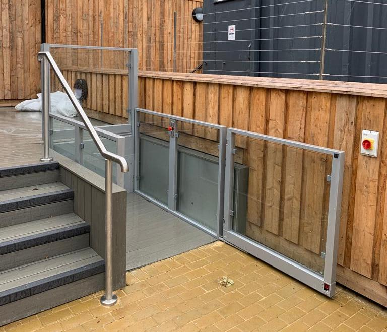 The outdoor platform lift provides access to the courtyard area of Lincoln Cathedral