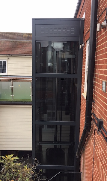 The lift sits up against the external wall and integrates with the DPC lining to make a seal against the weather