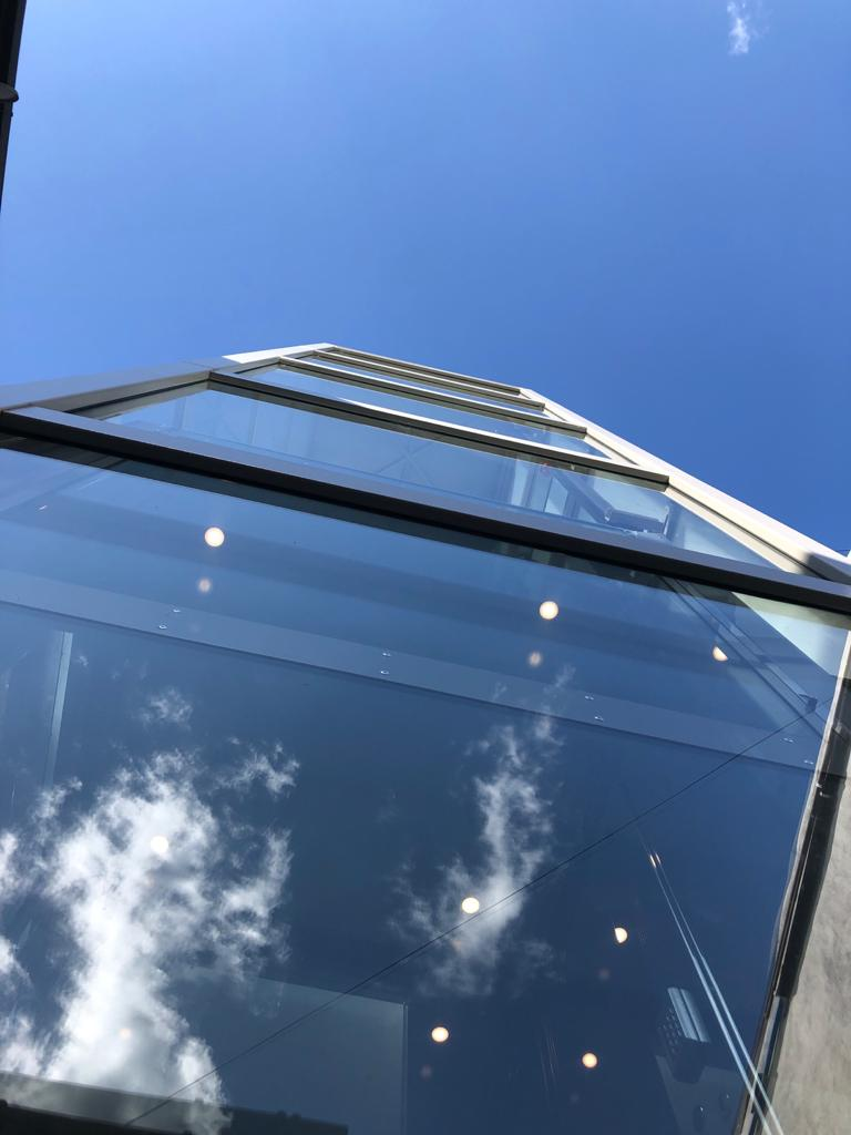 The transparent glass panels allow light to floor into the lift shaft and the property