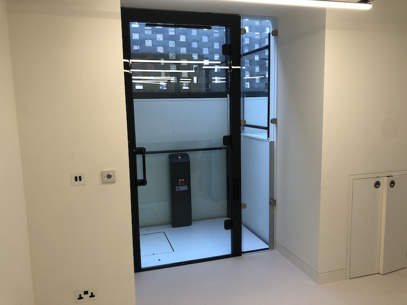The lift at Eardley House features a fully automatic glass door