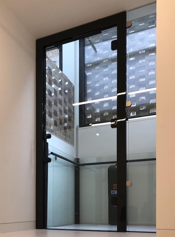 The glass door from below