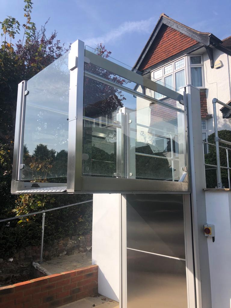 The external wheelchair lift in Purley