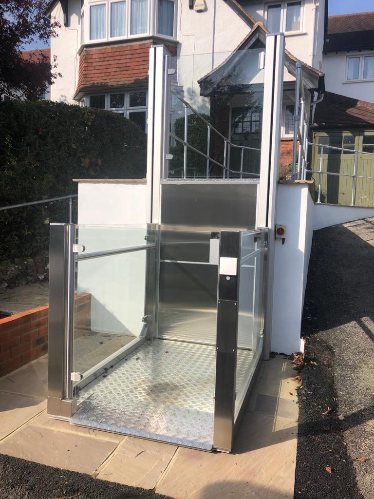 External platform lift at a private property in Purley, Surrey