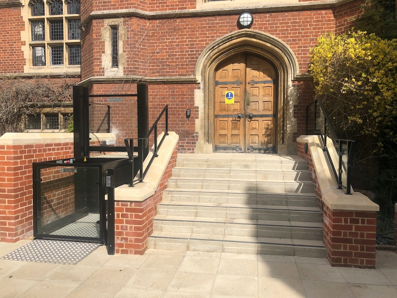 Outside platform lift at Ridley Hall in Cambridge