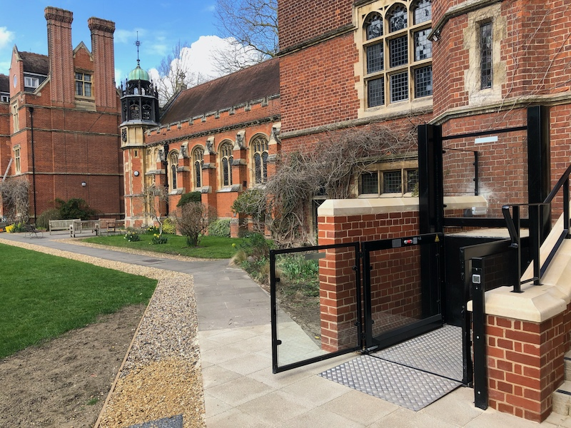 Both lifts were powder-coated black to match the accents of the building, contrasting the organs brickwork and sandstone capping