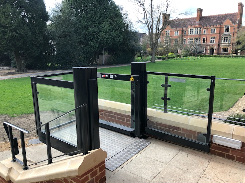 Each outside wheelchair lift features automatic gates to make the lift easy to use
