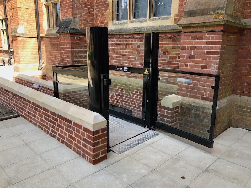 External platform lift providing access to the basement library of Ridley Hall Cambridge