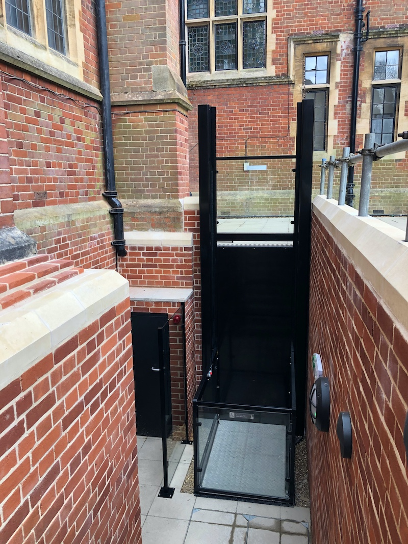 The external wheelchair lift providing access to the basement travels nearly 3 metres and features a protective glass screen